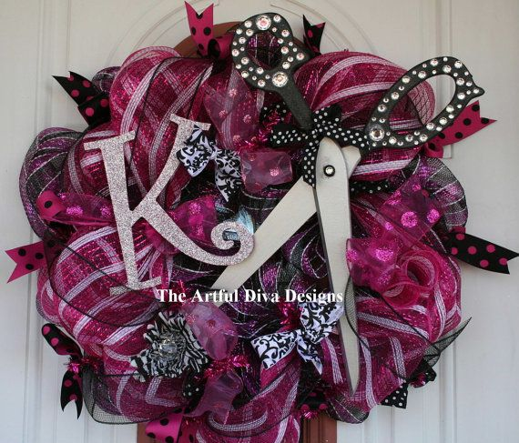 Hair Stylists SHEARS Wreath by TheArtfulDivaDesigns on Etsy, $65.00