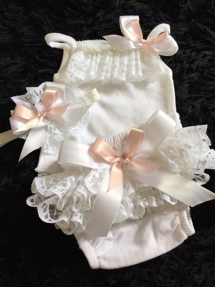 Tutu vest and knickers made to order finished in white double gathered lace and double pink And white bows with matching head band