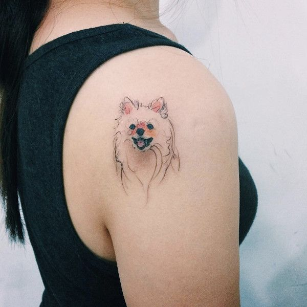 Love this style! Dog Portrait Tattoos by Tattooist Doy