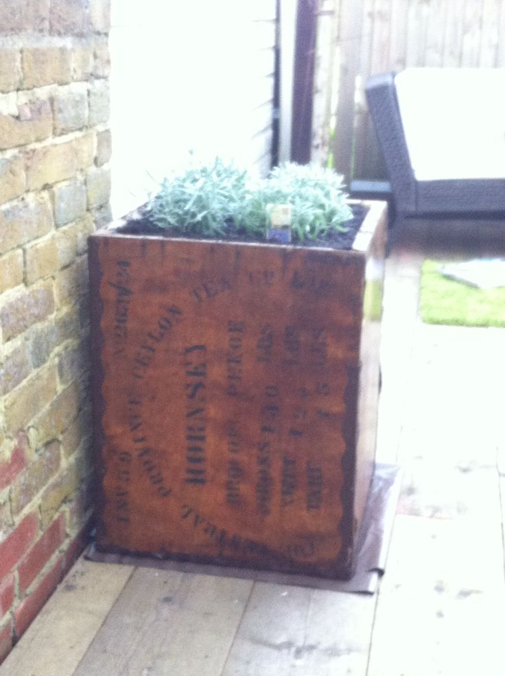 Upcycled Tea Chest Transformed Into A Garden Planter.