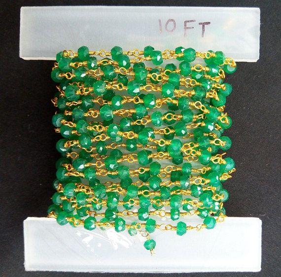 10 Feet Green Onyx Green Onyx gemstone Green Onyx Natural
