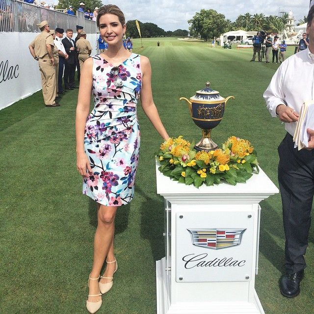 Ivanka Trump celebrating the Opening Ceremony of the PGA Tour at Trump Doral in head-to-toe Ivanka Trump.