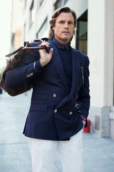 Double breastLight Pink Blazers, Navy And White, Fashion Weeks, Bags Mensfashion, Chic, Blue, Ny Style, Men Style, White Pants