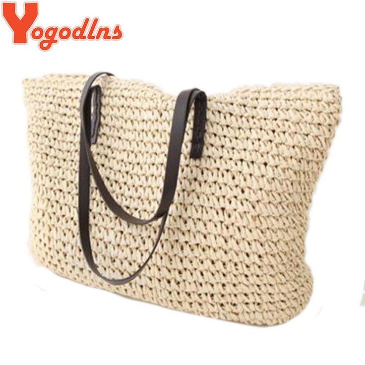 Горячая мода Простые выдалбливают пляжные сумки женщины мешок соломы старинные трикотажные большой tote сумки сумки на ремне купить на AliExpress