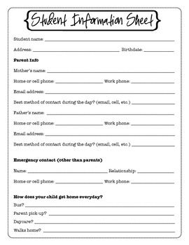 FREE Printable Student Information Sheet (Parent/Emergency Contact)