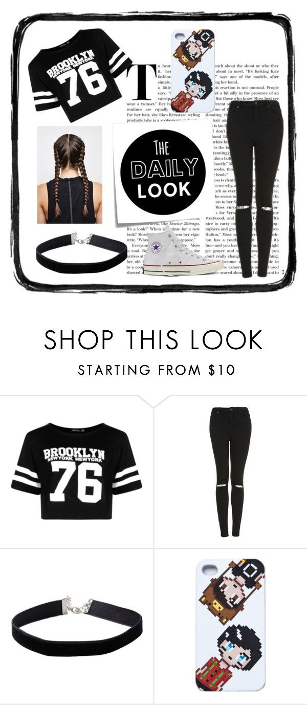 """""""Daily Look"""" by jacinta203 ❤ liked on Polyvore featuring Post-It, Boohoo, Topshop, Miss Selfridge and Converse"""