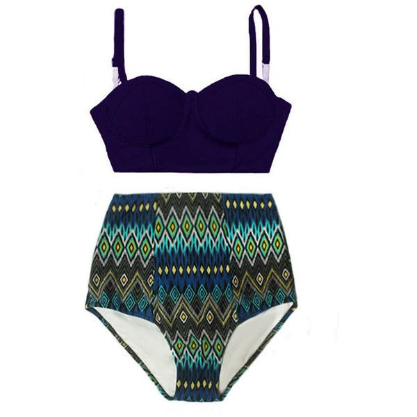 Navy Blue Underwire Midkini Top and Tribute Aztec Highwaisted High... ($40) ❤ liked on Polyvore featuring swimwear, bikinis, grey, women's clothing, high waisted swimsuit, retro bathing suits, high waist bikini swimsuit, swimsuits two piece and underwire bathing suits