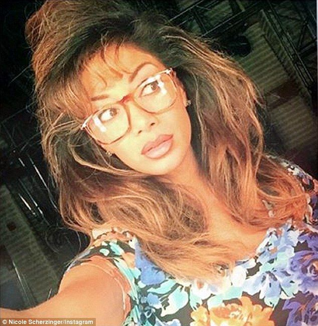 'Channelling my inner Kelly Kapowski': Nicole decided to ditch the glamour for a retro vibe as she took part in Neil Patrick Harris' show Best Time Ever this week