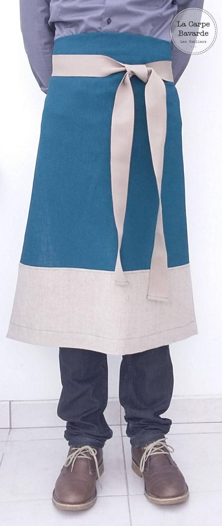 Apron apron French bistro apron mixed apron blue linen