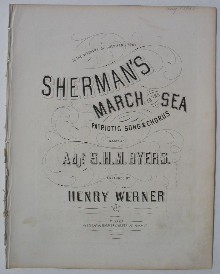 SHEET MUSIC.- CIVIL WAR  SHERMANS MARCH TO THE SEA