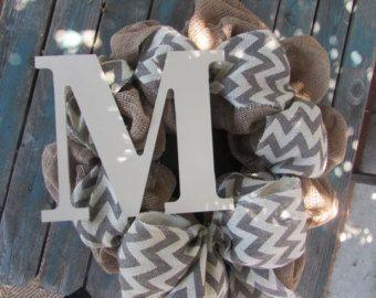 "22"" Custom Wreath- Initial Wreath- Burlap Initial Wreath- Chevron Burlap Wreath- Burlap Wreath- Custom Initial Burlap Wreath- Wooden Initial"
