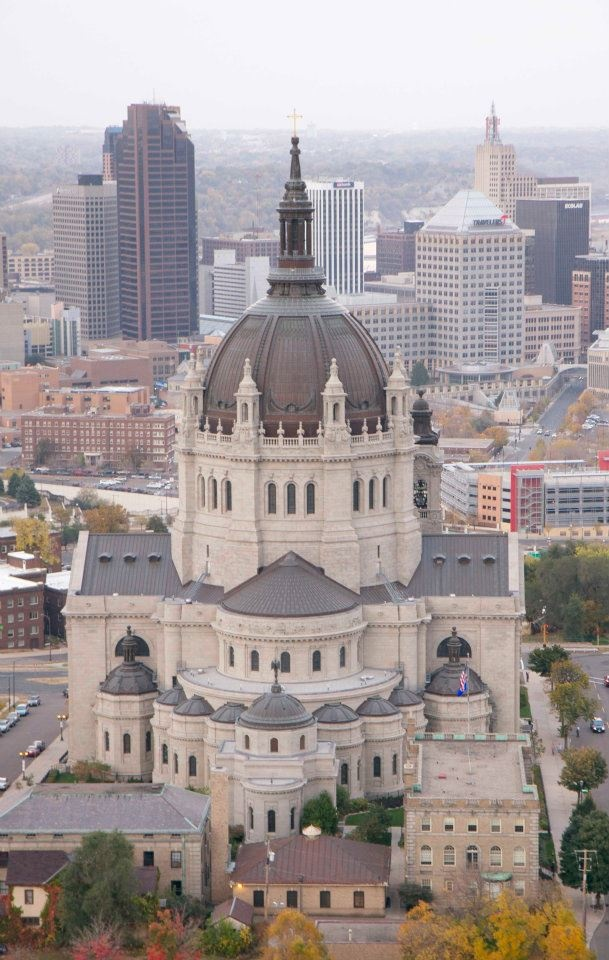 Aerial view Cathedral of Saint Paul,  St Paul, Minnesota