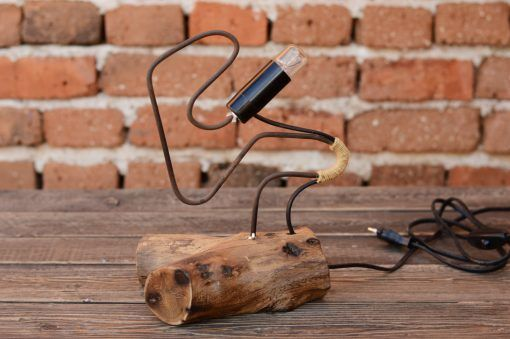 wood+and+steel+lamp,+accent+lamp,+Schreibtischlampe,+Lamp+height+adjustment,+Gift+ideas,+Home+decor,+office+decor,+cute+wood+lamp…