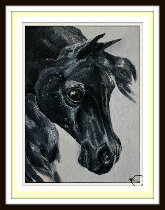 Black Horse PRINT  Original Print  Limited Edition by KubuHandmade