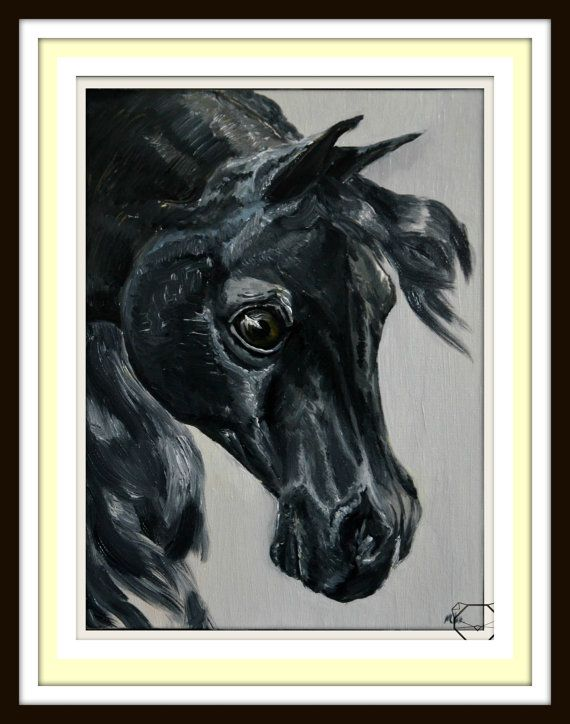 Black Horse PRINT  Original Print  Limited Edition by KubuHandmade