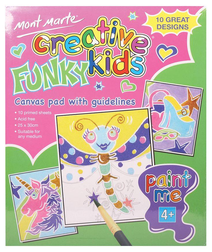 Art Shed Online - Mont Marte Creative Kids FUNKY Canvas Pad 10 sheet, $4.98 (http://www.artshedonline.com.au/mont-marte-creative-kids-funky-canvas-pad-10-sheet/)