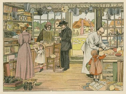 A victorian painting of a village store