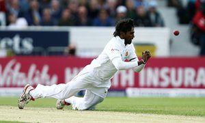 Nuwan Pradeep drops a catch from Jonny Bairstow.