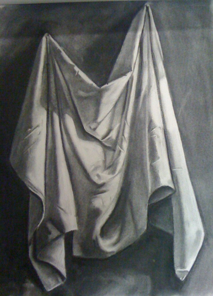 Still Life Fabric Drawing WIP by *Cynister009 on deviantART    I love folds in fabric. I did this type of thing as a final project previously. I love how you can create so much depth and contrast in Black and White. I find this simple image captivating.