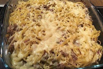 Leckerer Hack-Hollandaise-Auflauf mit Spaghetti