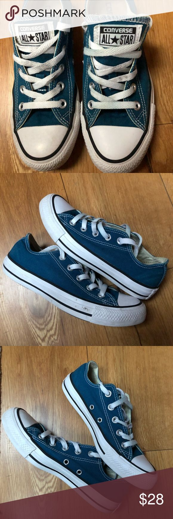 Converse All Stars low chuck taylors blue white Converse All Stars Chuck Taylors electric blue shoes. Unisex. Great used condition.  Shoes have been washed. See pictures for details. Color is a cobalt or royal blue. Women's 6  Men's size 4 Converse Shoes Sneakers
