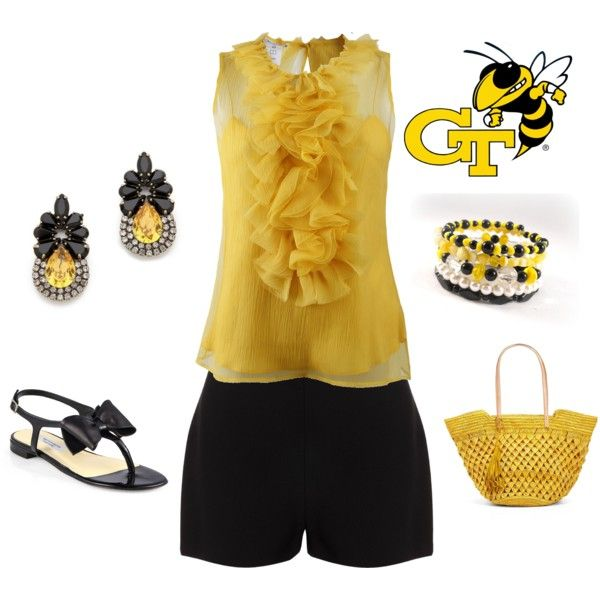"""""""Georgia Tech Game Day"""" by mandy-hubbs-shaw on Polyvore"""