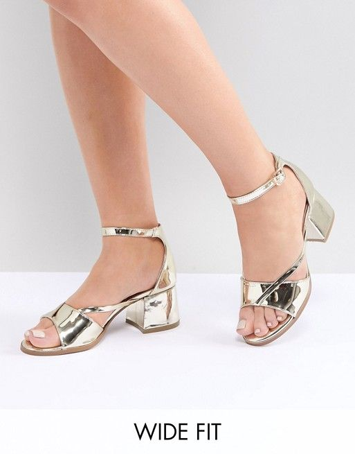 cb0cc25258a Lost Ink Wide Fit Rose Gold Block Heeled Sandals