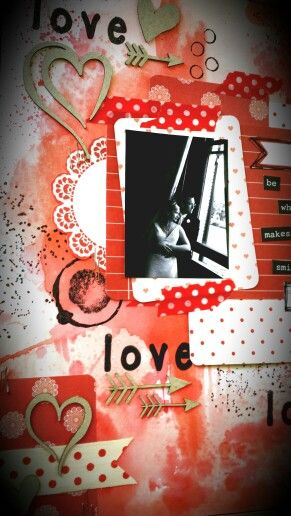 Paper Wings Productions Link Up Party : February - Red theme : Love, love, love mixed media page by Amanda Baldwin