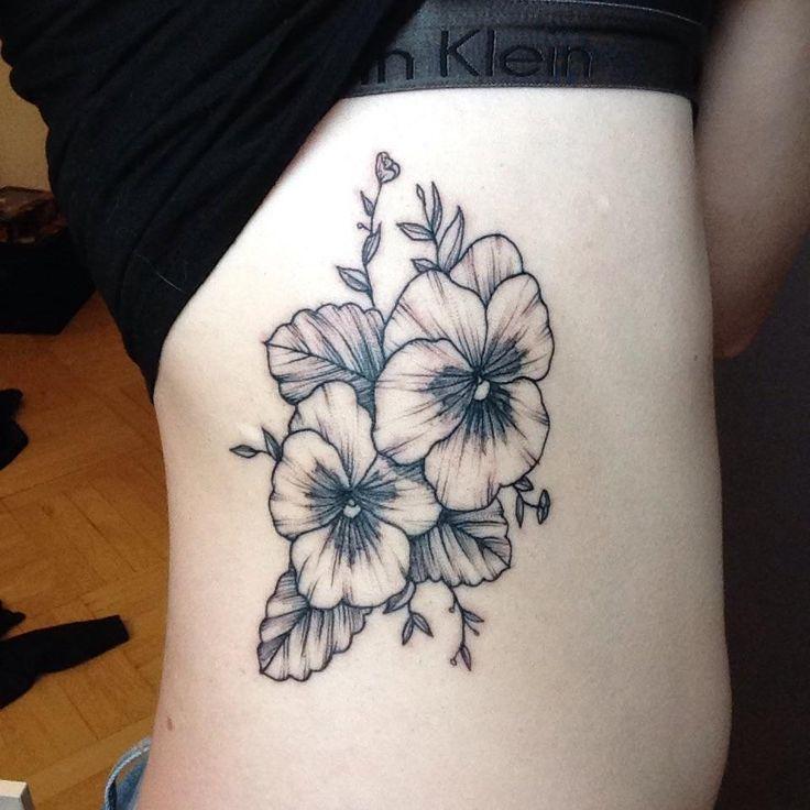 My first tattoo. Pansies by Caroline Salinas @ Miks Tattoo (Copenhagen)