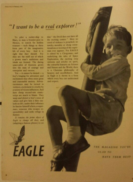 Odd religious advert for Eagle comic in Picture Post Feb 23rd 1952 (Vol 54 #8)