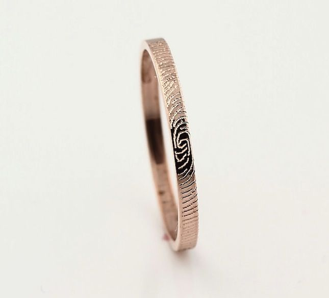 50 of Etsy's Coolest Wedding Finds via Brit + Co. Fingerprint wedding band.  so cool.