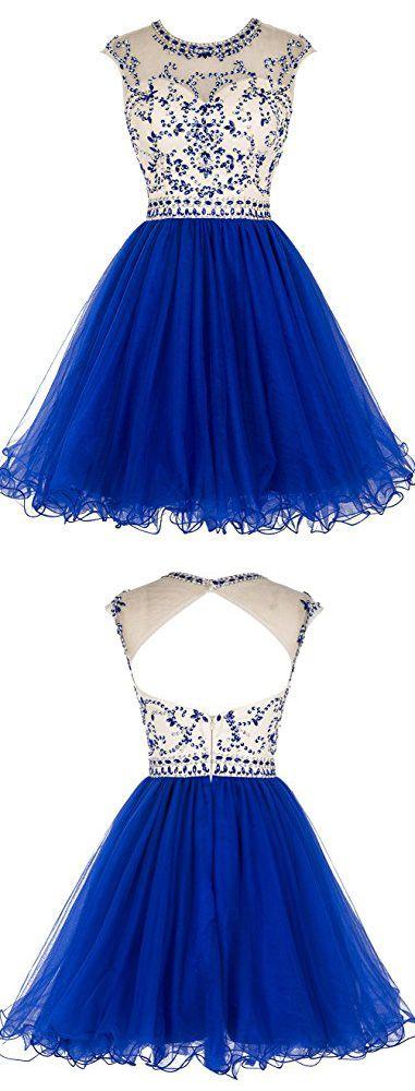 Short Beading Prom Dress Tulle Evening Dress Hollow Back