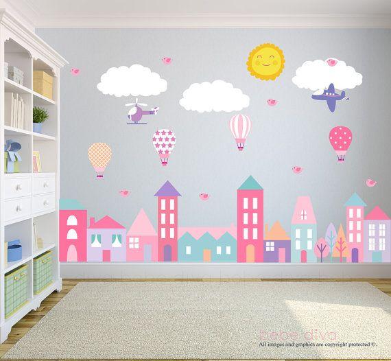 Stickers di città, decalcomanie Nursery, Baby adesivi murali della parete, muro bambini decalcomanie, Wall Decal vivaio, vivaio Wall Decal, rimovibili e riutilizzabili