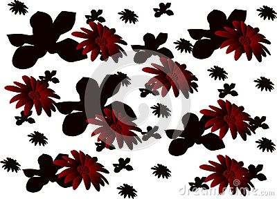 Vector claret floral pattern with gradient and floral silhouette background.