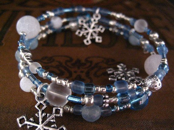 Snow and Frosted Ice Blue Memory Wire Wrapped by SlightlyWired, $14.00