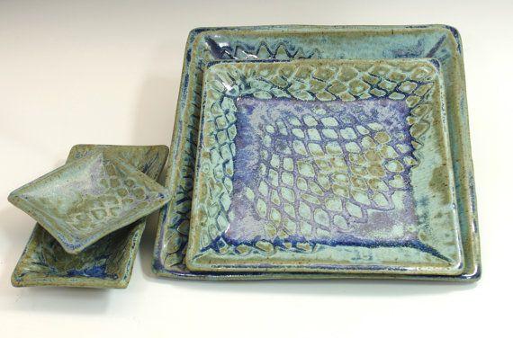 Ceramic plate square plates trays Sushi plates by bridgespottery
