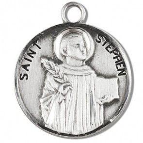"Saint Stephen 7/8"" Round Sterling Silver Medal"