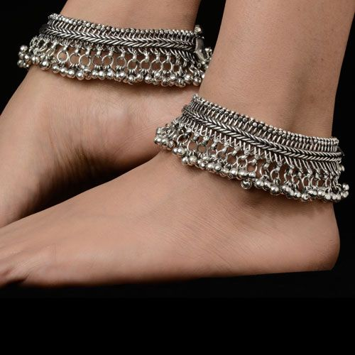 Indian Traditional Silver Anklets For Girls Matching