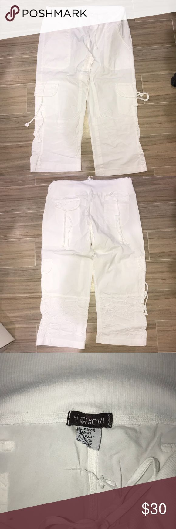 Women's White Cargo Pants Light weight drawstring adorable cropped women's cargo pants! Perfect with flip flops or wedges! XCVI Pants Wide Leg