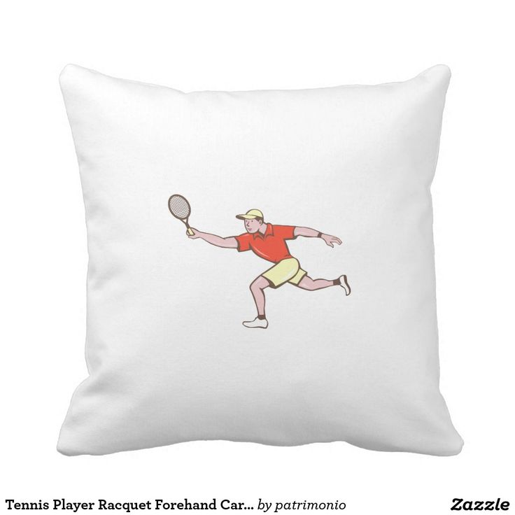 Tennis Player Racquet Forehand Cartoon Pillow. Illustration of a tennis player holding racquet playing tennis doing a forehand shot viewed from the side set on isolated white background done in cartoon style. #tennis #olympics #sports #summergames #rio2016 #olympics2016
