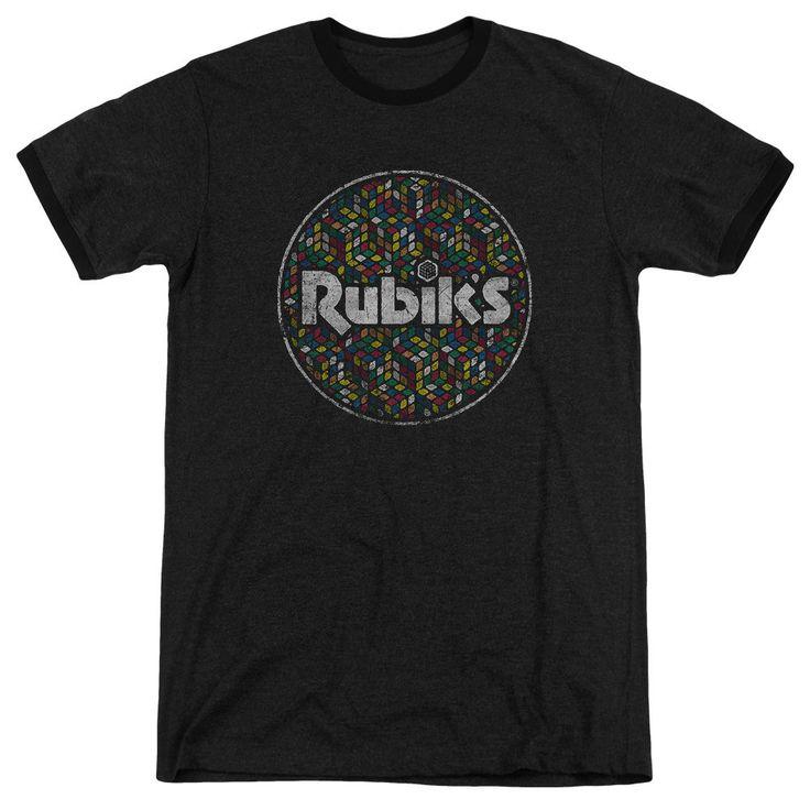 Rubik's Cube Circle Pattern Black Ringer T-Shirt