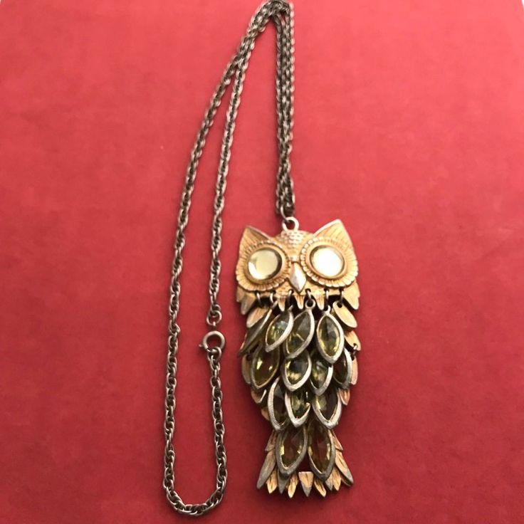 Owl Large Eyes Gold Tone Vintage Rhinestone Pendant Necklace Chain Included #Unmarked #Pendant