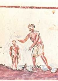 Catacombs of Rome -A fresco of a baptism from the Catacombs of San Callisto
