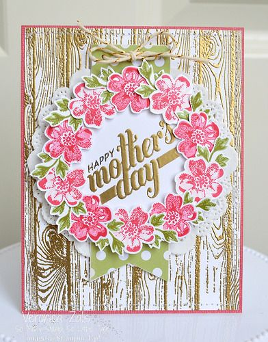 Card created by Veronica Zalis using Stampin' Up!'s Stippled Blossoms and a sentiment from the April Paper Pumpkin Kit.
