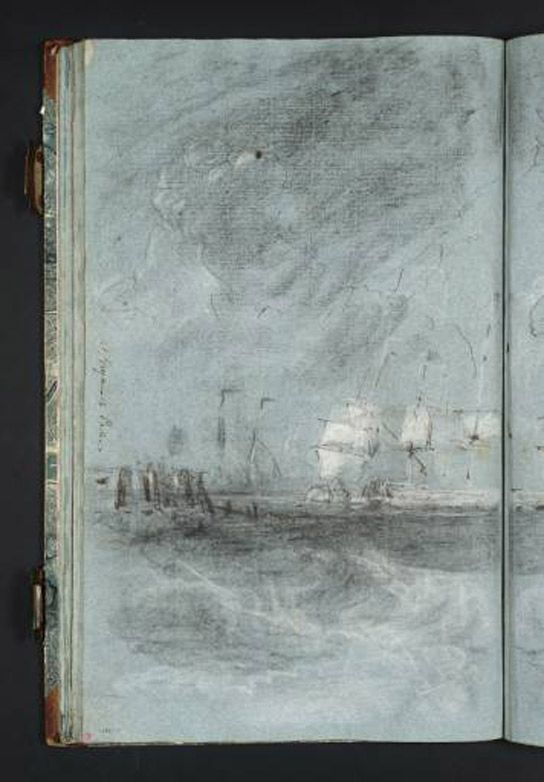 "JMW Turner, Composition Study for ""Ships Bearing Up for Anchorage"" from Calais Pier Sketchbook, circa 1802, Chalk on paper,"