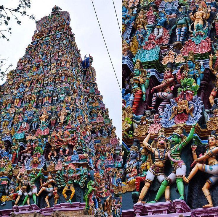 Au sud de l'Inde, dans l'Etat deTamil Nadu, se trouve le temple de Mînâkshî, un temple hindou consacré à Mînâkshî, une incarnation terrestre de la déesse Pârvatî.Les statues qui ornent les tours de l'&eac...