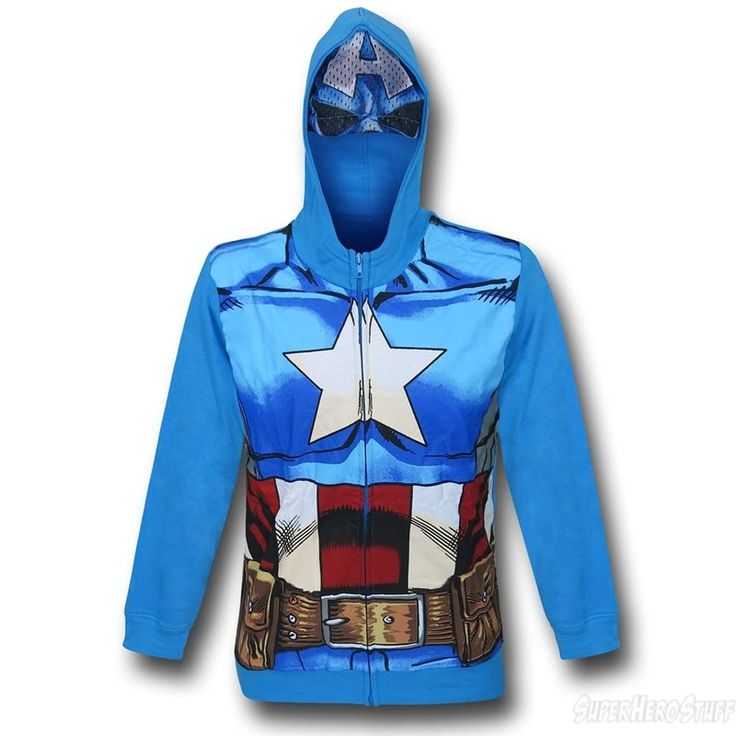 Images of Captain America Costume Kids Zipper Hoodie with Mask