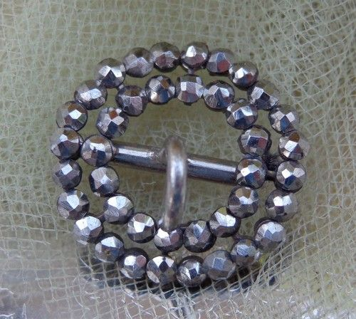 SOLD RARE? ANTIQUE VTG Victorian ROUND Cut Steel Buckle Belt Shoe Sash Knee Child SM
