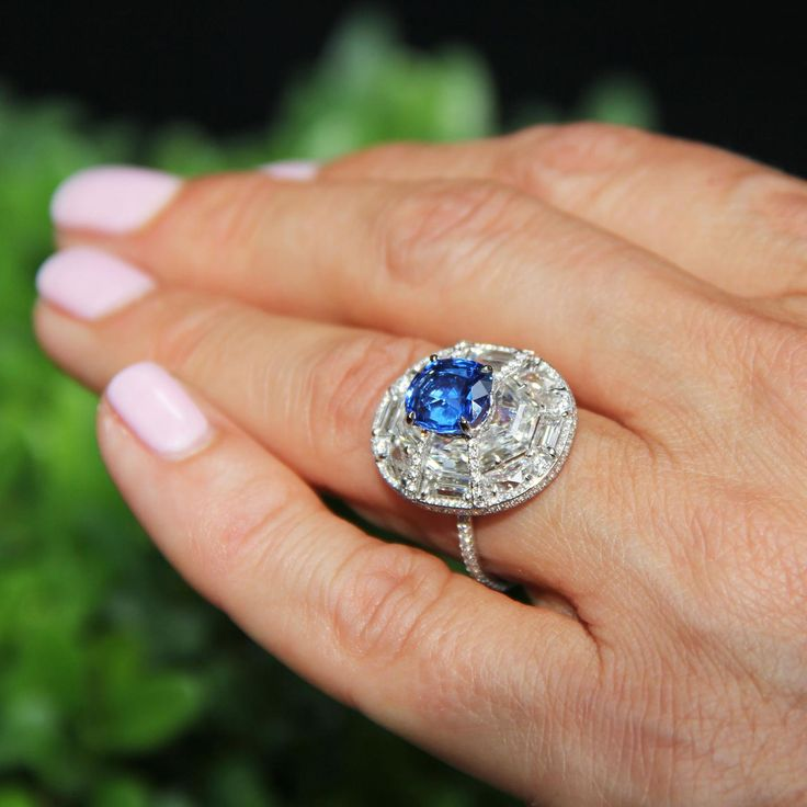 One-of-a-kind Boghossian blue spinel ring with diamonds set in 18-carat white gold. http://www.thejewelleryeditor.com/jewellery/article/boghossians-daring-creations-are-perfect-reason-visit-masterpiece/ #jewelry