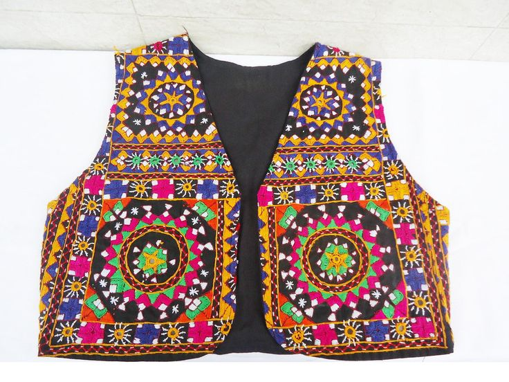kutch embroidery jacket, handmade waistcoat, indian short coti, black banjara jacket with mirror work, bohemian tribal colorful blouse by craftcoloursindia on Etsy